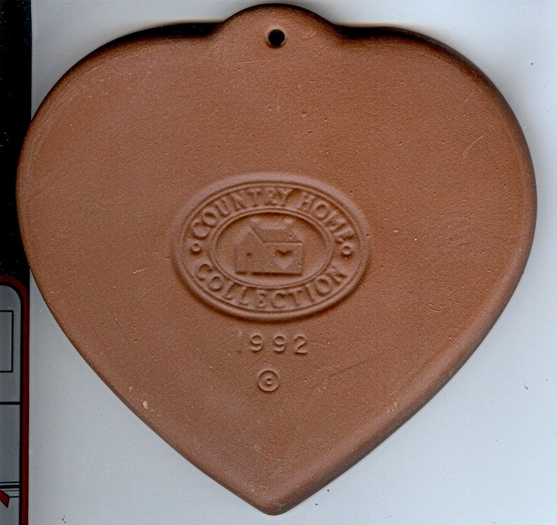 Recipe Booklet Folk Heart Red Bisque 5.5 Clay Cookie Paper Chocolate Candy Art Mold Vintage 1990s Country Home Collection Valentine Gif