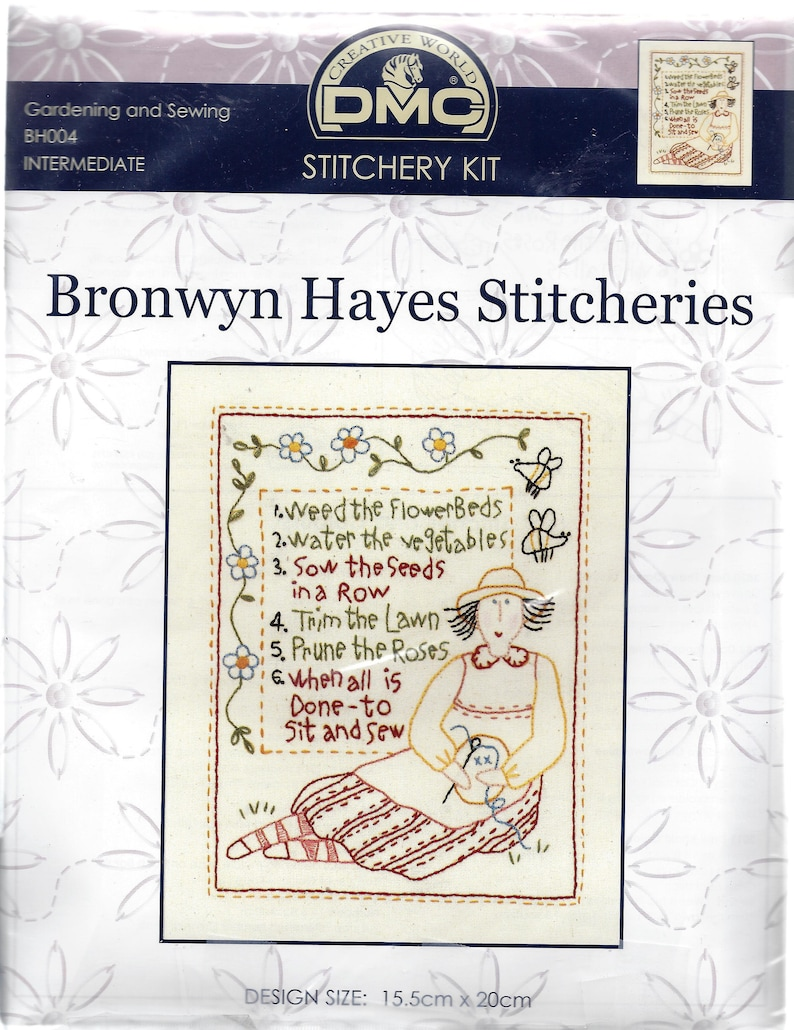 DMC Stitchery Kit Fabric Gardening and Sewing Iron-On Design Bronwyn Hayes Stitcheries Instructions. Embroidery Kit BH004 Floss