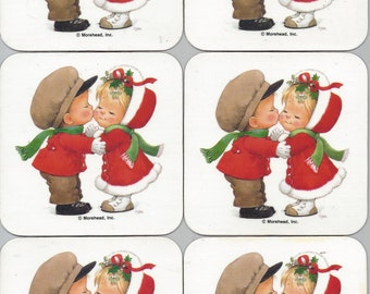 Vintage Ruth J. Morehead Holly Babes Christmas Cork-Backed Coasters, Kissing Under the Mistletoe, Set of 6