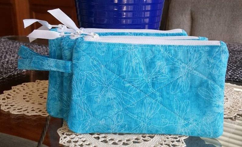 makeup Teal w White Dragonflies phone cords credit cards Zipper Bag White Zipper keys cotton fabric organizer