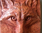 RED FOX Face Square Tile Wall Art Sculpture Sculpted Plaque Bas Relief Hydrostone in Burnt Orange color 5x5