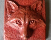RED FOX Face Square Tile Wall Art Sculpture Sculpted Plaque Bas Relief Hydrostone in Terracotta color 5x5