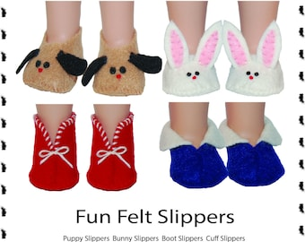 Felt Slippers PDF sewing pattern for Wellie Wishers make it yourself instructions tutorial by TKCT