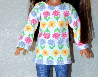 "Top and Pants for 14"" Wellie Wishers or Melissa & Doug Doll Clothes Flower Denim like tkct1156 READY TO SHIP"