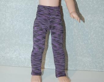 Leggings handmade for 14.5 inch Wellie Wishers tkct1174 black purple stripes READY TO SHIP
