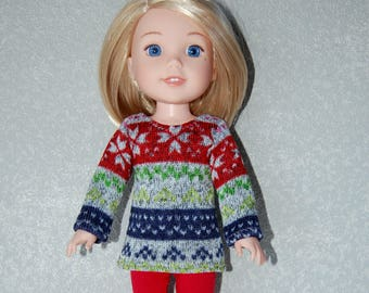 "Top and Pants for 14"" Wellie Wishers or Melissa & Doug Doll Clothes fleece Stripe Sweater Knit top Red Pants  tkct1173 READY TO SHIP"