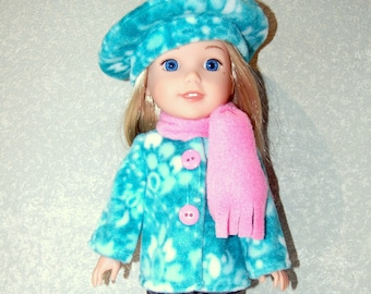 "Jacket Hat Scarf for 14"" Wellie Wishers or Melissa & Doug fleece Doll Clothes Minty Green-blue  tkct1193 READY TO SHIP"