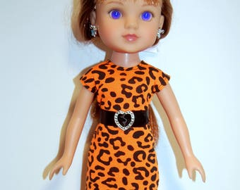 "Doll Clothes Dress and removable belt TKCT541 handmade fits Corolle 13"" Les Cheries or 14"" Heart for Hearts Orange READY TO Ship"