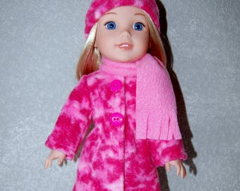 "Jacket Hat Scarf for 14"" Wellie Wishers or Melissa & Doug Doll Clothes pink tkct1163 long fleece coat handmade READY TO SHIP"