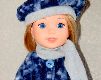 "Jacket Hat Scarf for 14"" Wellie Wishers or Melissa & Doug Doll Clothes blue-grey tkct948"