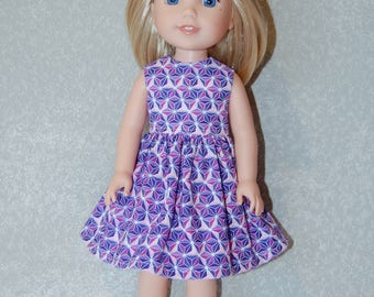 "Dress for 14"" Wellie Wishers or Melissa & Doug Doll Clothes purple tkct1136 READY TO SHIP"