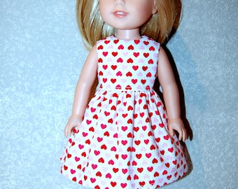 "Dress for 14"" Wellie Wishers or Melissa & Doug Doll Clothes Pink Red sparkle hearts Valentines day  tkct1207 READY TO SHIP"