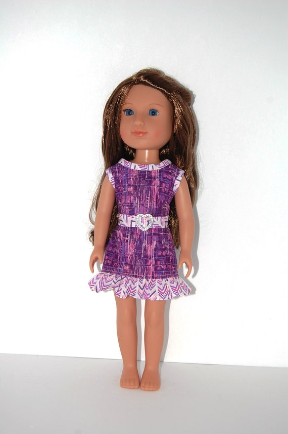 """Dress for 14.5/"""" Wellie Wishers Doll Clothes TKCT handmade lime green flowers"""