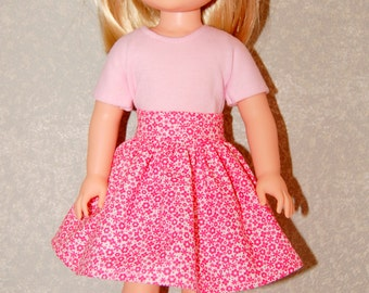 Skirt  for 14 inch Wellie Wishers Pink White - Doll Clothes  tkct960 READY TO SHIP