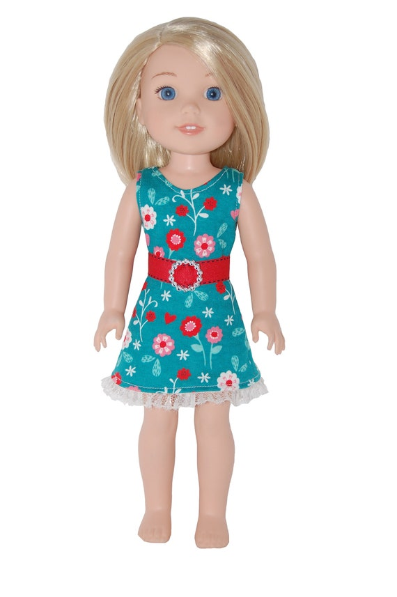"""Sleeveless Dress /& Belt for 14/"""" Wellie Wishers Doll Clothes by TKCT Unicorn pink"""