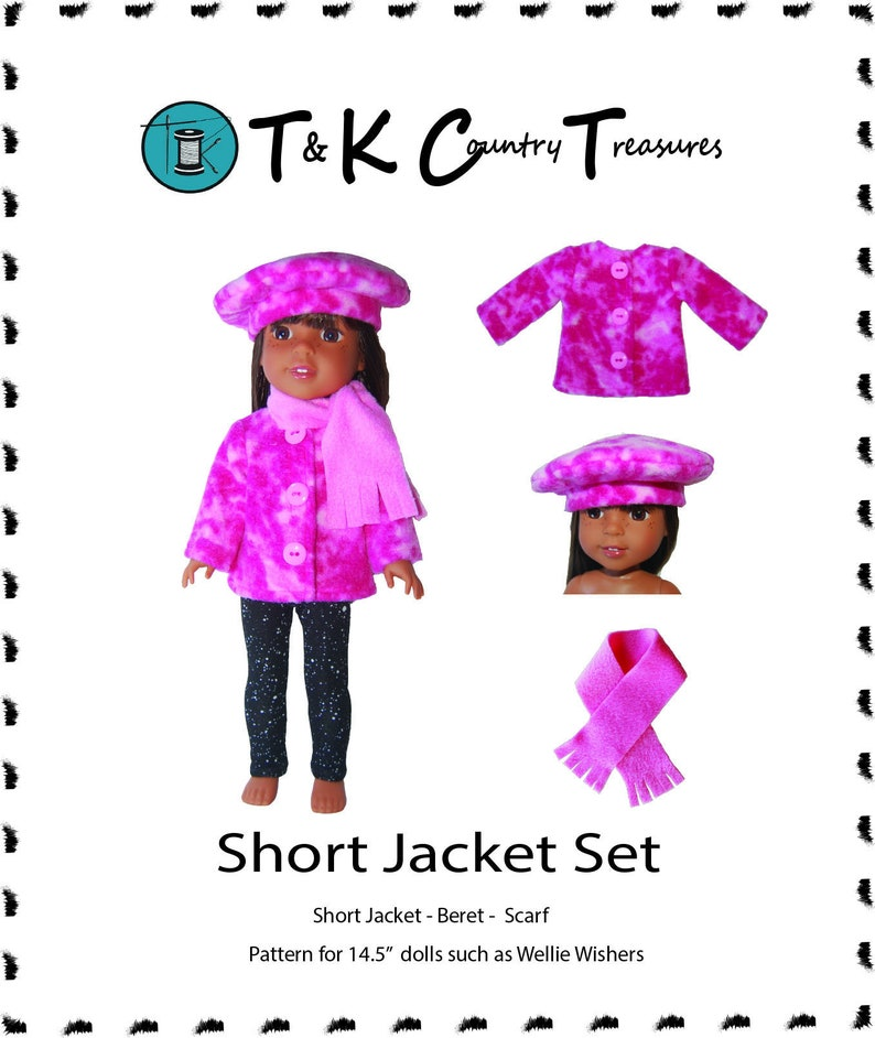 image about Printable Sewing Patterns identified as PDF printable sewing behavior Small Jacket Beret Scarf 14.5 inch dolls which includes Wellie Wishers produce it oneself guidelines guideline as a result of TKCT