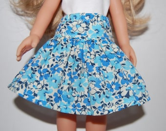 """Blue Flowers Skirt - Doll Clothes handmade Corolle 13"""" Les Cheries or 14"""" Heart for Hearts tkct464 READY TO SHIP"""