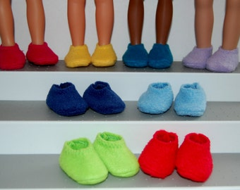 "Fleece Slippers-One Pair fit Corolle 13"" Les Cheries or 14"" Wellie Wishers Heart for Hearts Betsy McCall Mine to Love  tkct364 READY TO SHIP"