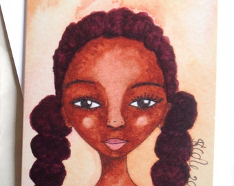 Afro Caribbean Greeting Card 'Tennis Girl'