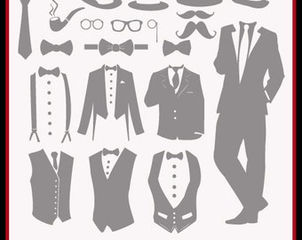 Tuxedo SVG Files, Mustache SVG Files, Wedding Party Cut Files for Cricut or Silhouette, Wedding Groom Svg, Ai Eps Svg Gsd, Cuttable SVG