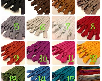 "Assorted Colors Available Set of 25 Long 22/"" All-Purpose Zippers Wholesale"