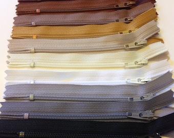 Ten neutral 4 inch YKK zippers - black, medium, light grey, brown, mustard, beige, vanilla, white