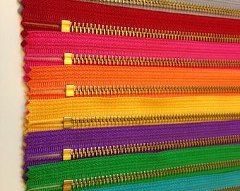 YKK metal zippers, 6 inch brass zippers, ten pcs - brown, grey, red, hot pink, orange, sunflower, purple, green, turquoise, aqua, gold teeth