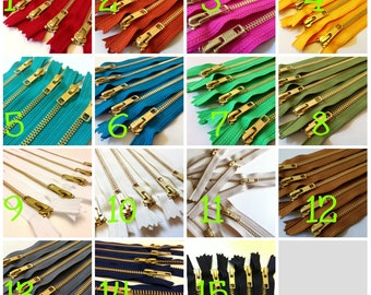 10 inch metal zippers, Choose 10 pcs, burnt orange, olive, brown, red, grey, black, green, blue, sunflower, pink fuchsia, white, gold teeth