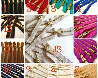 14 inch metal zippers, gold teeth, Choose TEN pcs, neutrals, pink, camel, fuchsia, blue, red, turquoise, great for leather purses, dresses