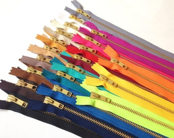 Metal zippers, 12 inch Gold teeth zippers, 21 pc, bright, deep, and neutral colors, match leather fabrics, zipper sampler