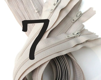 7 inch Zippers wholesale, 50 pcs, 3 mm coil, all purpose, Natural Beige skirt, dress YKK zippers with closed bottom