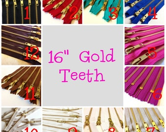16 inch metal zippers, gold teeth, Choose TEN pcs, grey, brown, black, white, blue, turquoise, red, great for leather purses, dresses