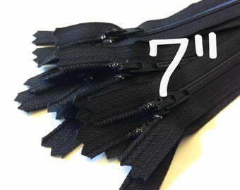 SALE, 7 inch Zippers wholesale, 100 pcs, 3 mm coil, all purpose, black dress YKK zippers with closed bottom