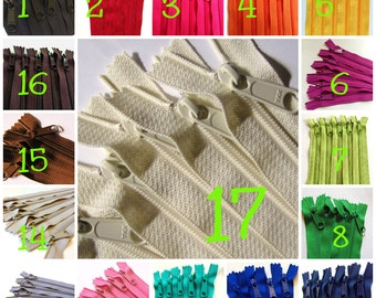 22 inch zippers with long pull, YKK, Choose colors, FIVE pcs, red, turquoise, pink, purple fuchsia, green, buttercup, blue, black, orange