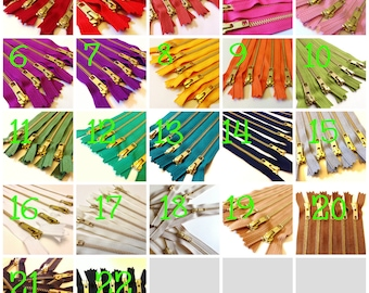 Five 8 inch gold metal teeth zippers - FIVE pieces in any one color