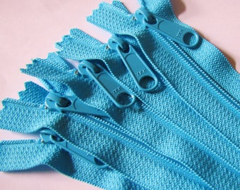 Five bright aqua 12 inch YKK Handbag zippers with long pull - YKK parrot blue color 547