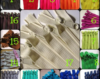 12 inch zippers, choose 25 handbag zippers with long pull - neutrals, red, pink, purple fuchsia, green, turquoise, aqua, orange, yellow
