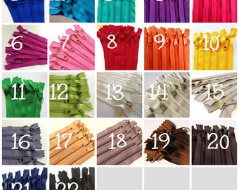 9 inch Handbag zippers with long pull, 4.5mm coil, Choose 25 pcs, red, green, blue, purple, orange, yellow, turquoise, pink, red, green