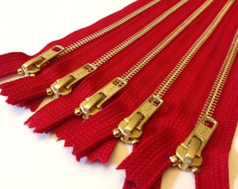 Clearance, Gold tone metal zippers, 11 inch zippers, TEN pcs, brass zippers, red tape, white YKK lettering on back of tape