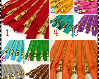 Metal zippers, Choose Ten 7 inch gold teeth zippers - black, brown, grey, red, hot pink, sunflower, purple, green, turquoise, brass zippers