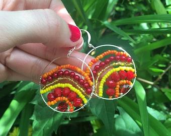One of a Kind Handmade Red Yellow Orange Circle Earrings, Autumn Earrings, Fall Earrings, Crystal Autumn Earrings   Bright Shadows Jewelry