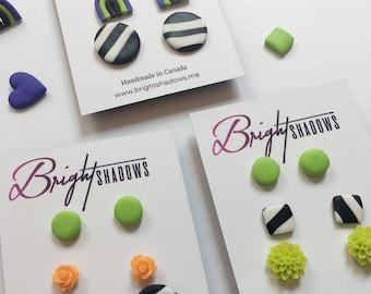 Handmade Beetlejuice Stud Pack, Halloween Neon Green Studs, Black & white Striped Studs, Halloween Rainbow   Bright Shadows Jewelry