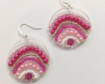 One of a Kind Handmade Pink, Fuchsia Circle Earrings, Bachelorette Earrings, Rainbow Pink Pearl Summer Earrings  Bright Shadows Jewelry