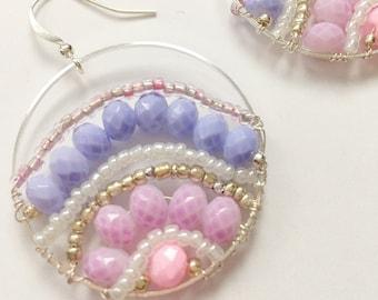 One of a Kind Handmade Pastel Purple Circle Earrings, Lavender Earrings, Rainbow Pink Purple Crystal Summer Earrings  Bright Shadows Jewelry