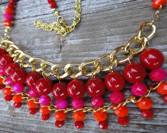 Handmade Red, Gold & Pink Statement Necklace, Red Gold Summer Necklace, Tropical Necklace, Autumn Colours Necklace   Bright Shadows Jewelry