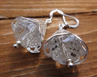Handmade Short Clear Crystal Earrings, Dangle Cone Earring, Handmade Bridal Earrings, Delicate Clear Earrings   Bright Shadows Jewelry