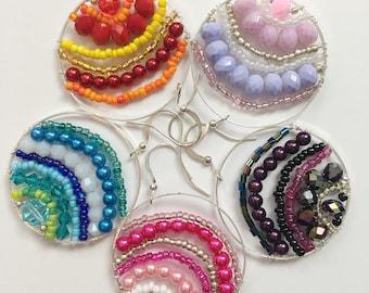 One of a Kind Handmade Dark Purple Circle Earrings, Gothic Crystal Earrings, Dark Purple Rainbow Summer Earrings  Bright Shadows Jewelry