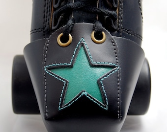 Leather Toe Guards with Teal Star