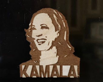 Wooden Kamala Harris Magnet, Free shipping in the US!