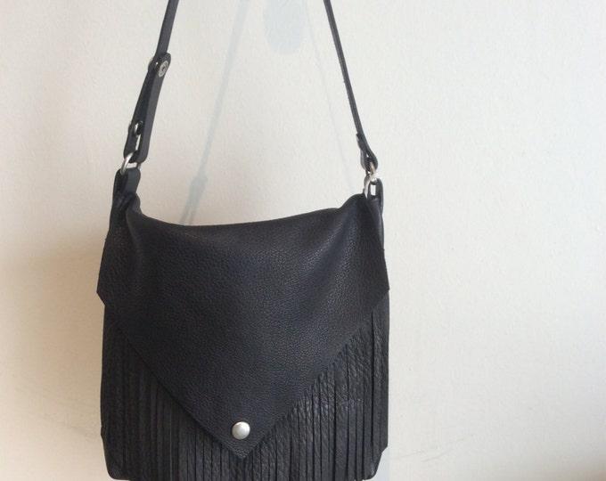 Leather Fringe Cross Body Bag
